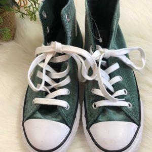 Green Velvet Converse High Tops Size 2 Junior NWOT